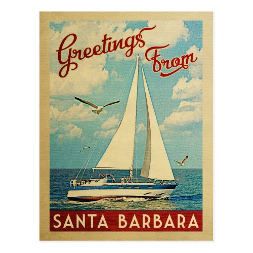 Santa Barbara Sailboat Vintage Travel California Postcard
