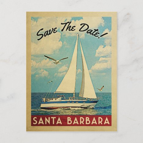 Santa Barbara Save The Date Sailboat Nautical Announcement Postcard