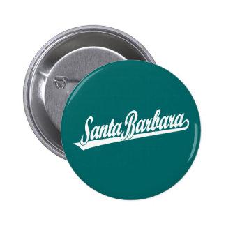 Santa Barbara script logo in white Button
