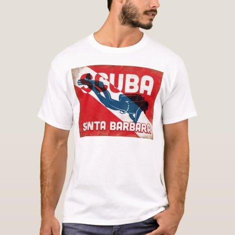 Santa Barbara Scuba Diver - Blue Retro T-Shirt