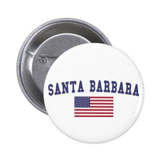 Santa Barbara US Flag Pinback Button