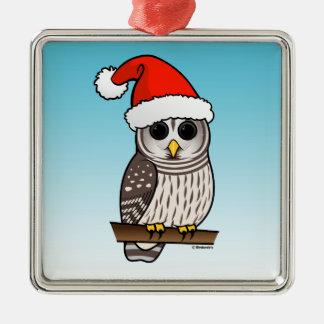 Santa Barred Owl Christmas Square Metal Christmas Ornament