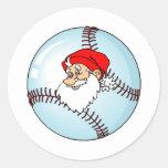 Santa Baseball Classic Round Sticker