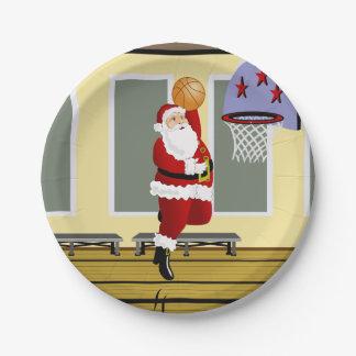 Santa Basketball Paper Plate