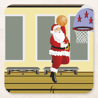 Santa Basketball Square Paper Coaster