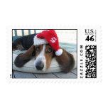 Santa Basset Hound Christmas Holiday Stamp