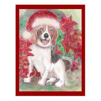 Santa Beagle Christmas card Post Card