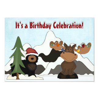 Santa Bear and Holiday Moose Mountain Birthday Card
