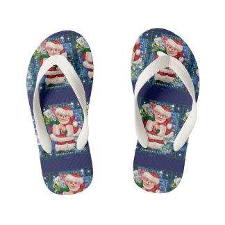 SANTA BEAR CHRISTMAS CARTOON Flip Flop shoes kids Kid's Flip Flops
