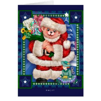 SANTA BEAR CHRISTMAS CARTOON NOTE Card
