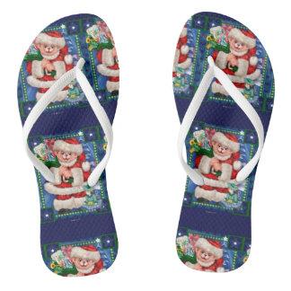 SANTA BEAR CHRISTMAS Flip Flop  Adult, Slim Straps Flip Flops
