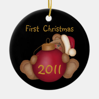 Santa Bear Customized 1st Christmas Ornament
