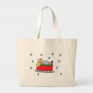Santa Bear Happy Holidays Large Tote Bag