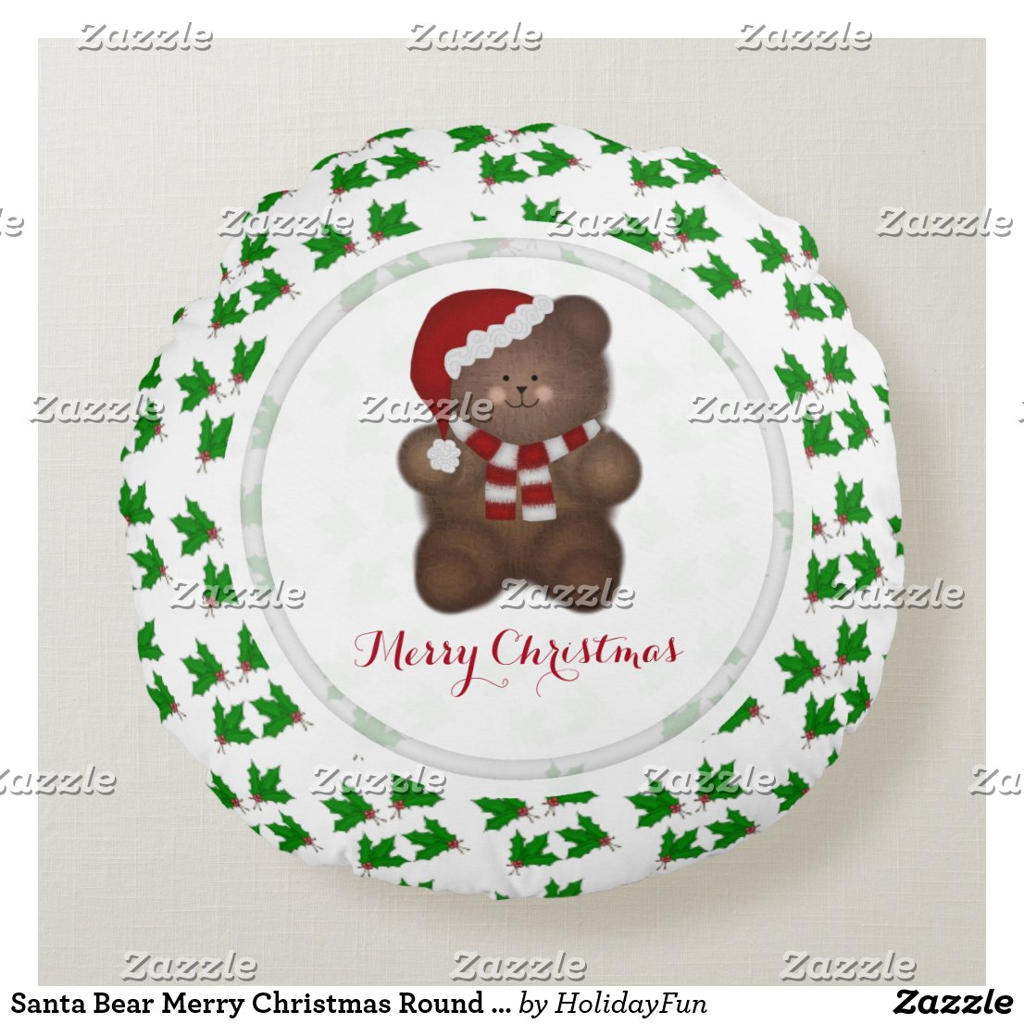 Santa Bear Merry Christmas Round Pillow