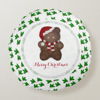 Santa Bear Merry Christmas Round Pillow
