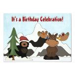 """Santa Bear, Moose and Mountain Birthday Invites 5"""" X 7"""" Invitation Card"""