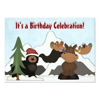 Santa Bear, Moose and Mountain Birthday Invites