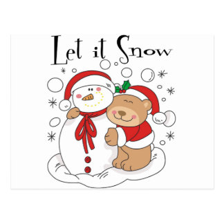 Santa Bear & Snowman Let It Snow Postcard