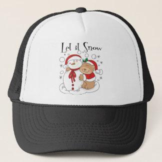 Santa Bear & Snowman Let It Snow Trucker Hat