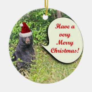 Santa Bear Wishing You a Merry Christmas Christmas Tree Ornament