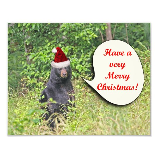 Santa Bear Wishing You a Merry Christmas Photo Print