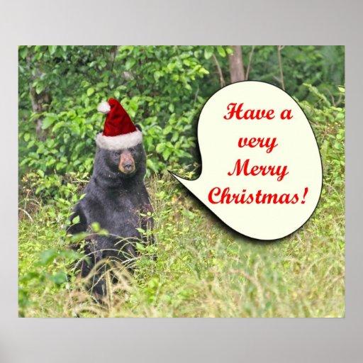 Santa Bear Wishing You a Merry Christmas Poster