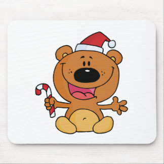 Santa Bear with Candy Cane Mouse Pad