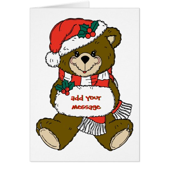 Santa Bear with Hat and Muff Card
