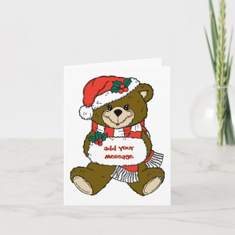 Santa Bear with Hat and Muff Holiday Card