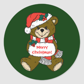 Santa Bear with Hat and Muff Classic Round Sticker