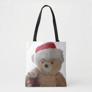 Santa bear with little bear tote bag