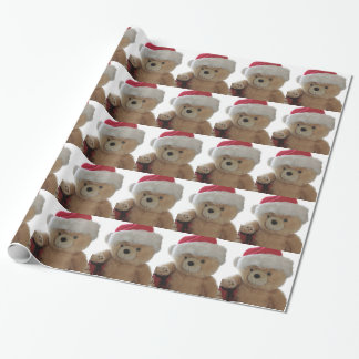 Santa bear with little bear wrapping paper