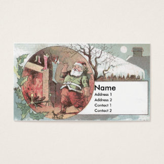 Santa Before the Fireplace Fills Stockings Business Card