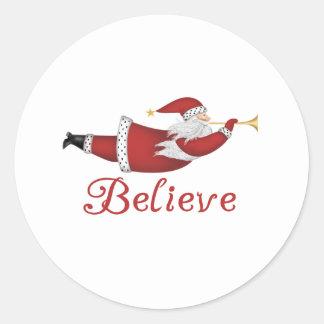 Santa Believe Classic Round Sticker