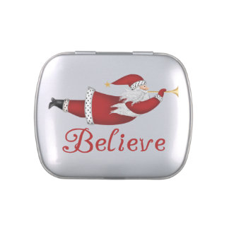 Santa Believe Tins and Jars w. Candy Jelly Belly Tin