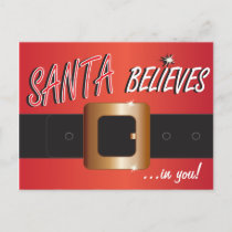 Santa Believes In You | Santa Suit Holiday Postcard