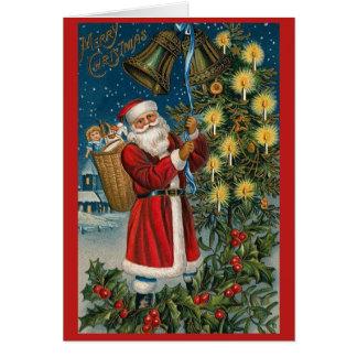 Santa Bells Vintage Christmas Card