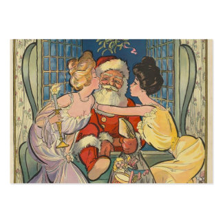 Santa besa navidad del vintage tarjeta personal