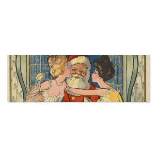 Santa besa navidad del vintage tarjeta de visita