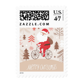 Santa Bicycling Postage