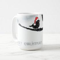 Santa Bird in Snow Christmas Mug