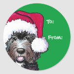 Santa Black Doodle Round Stickers