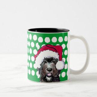 Santa Black Doodle Two-Tone Coffee Mug