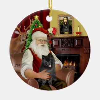 Santa-Black Pomeranian Ceramic Ornament