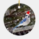 Santa Blue Jay Ceramic Ornament