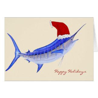 Santa Blue Marlin Christmas Greeting Card