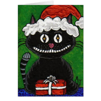 SANTA BOBO the BLACK CAT - Christmas card