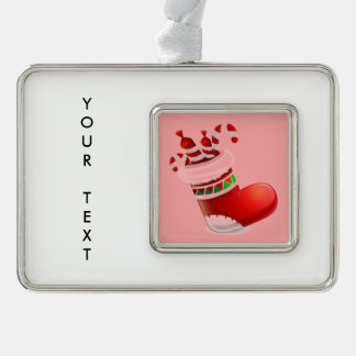 Santa Boot with Candy Silver Plated Framed Ornament