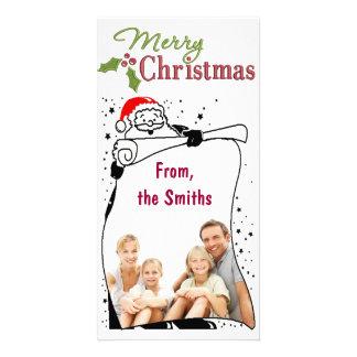 Santa  Border Merry Christmas Photo Photo Card Template