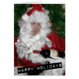 Santa borracho tarjeta de felicitación